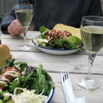 simple cae lunch with a glass of wine