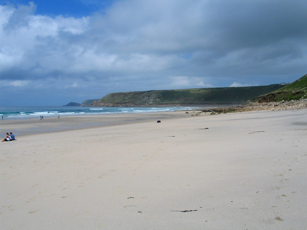 The quiet empty beach at the far end of Sennen