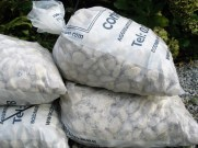 bags of white cobbles