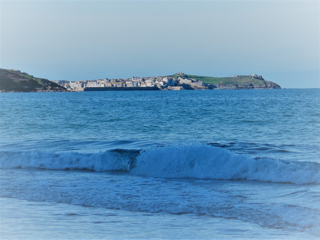 """View to teh cottages of St Ives beside """"The Island"""""""