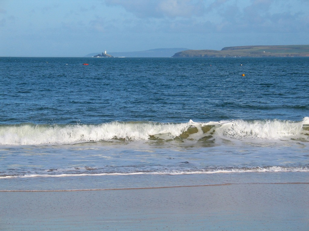 beautiful views from Pothminster to Godrevy lighthouse far across St Ives Bay