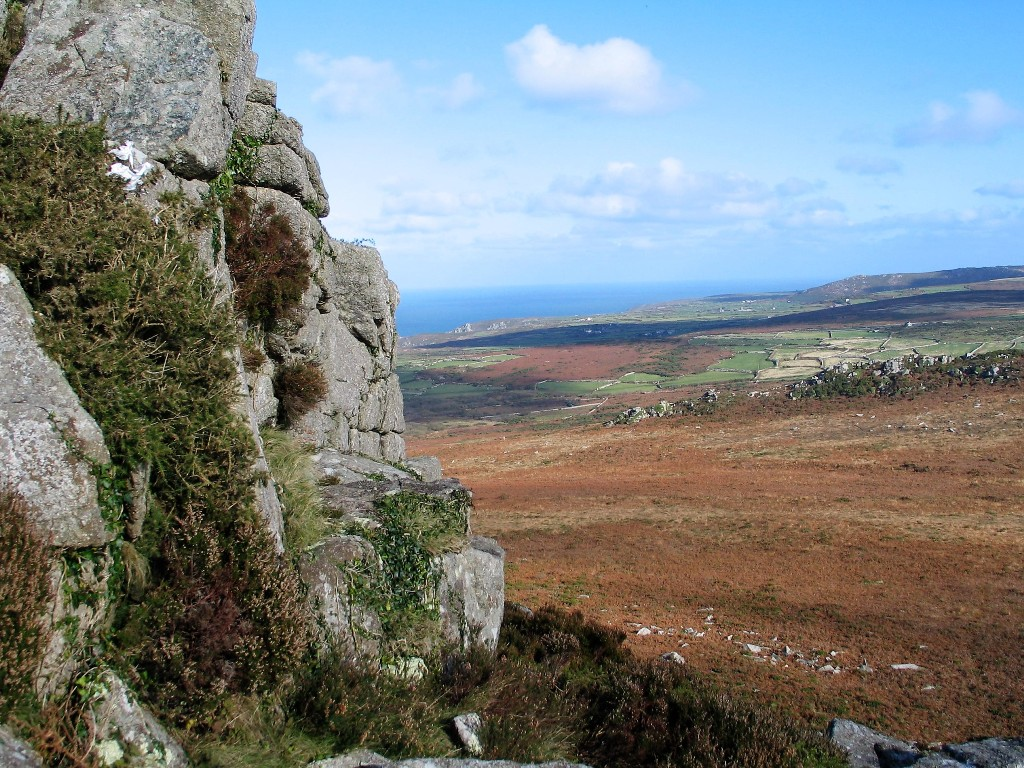 winter walk to a high tor on Penwith moors across russet bracken to the sea