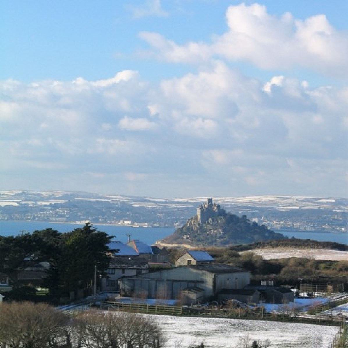 Winter snow across Mounts bay