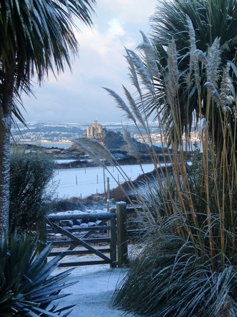 View over St Micheal's Mount in the snow 2010