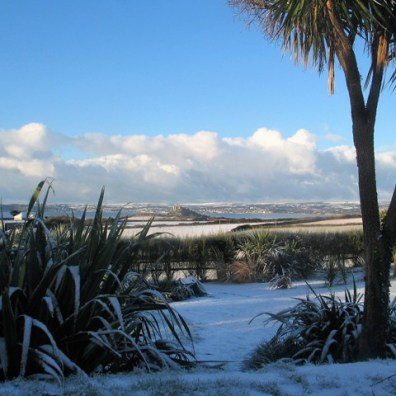 View across to St Micheal's Mount in the snow from Ednovean Farm
