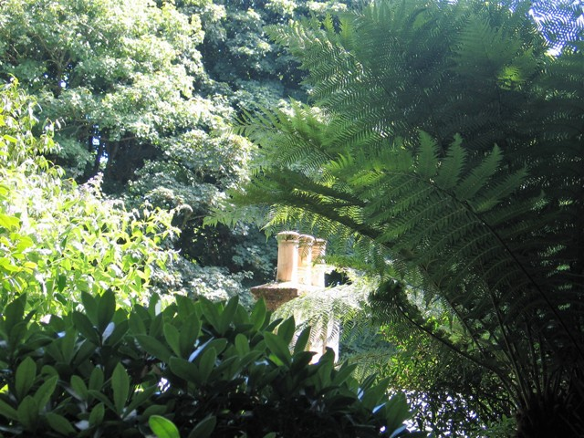 Trengwaninton Gardens - old chimney pots among trees