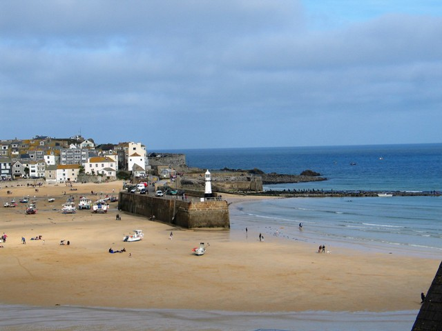 Empty sandy harbour - St Ives