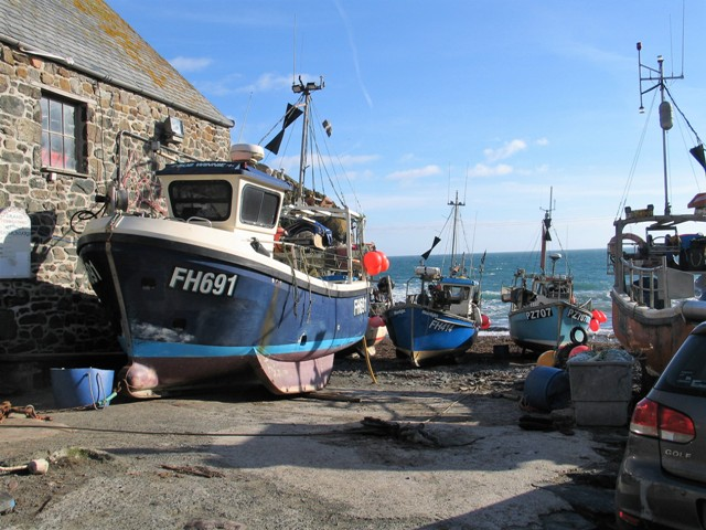 Working fishing boats at Cadgwith cove