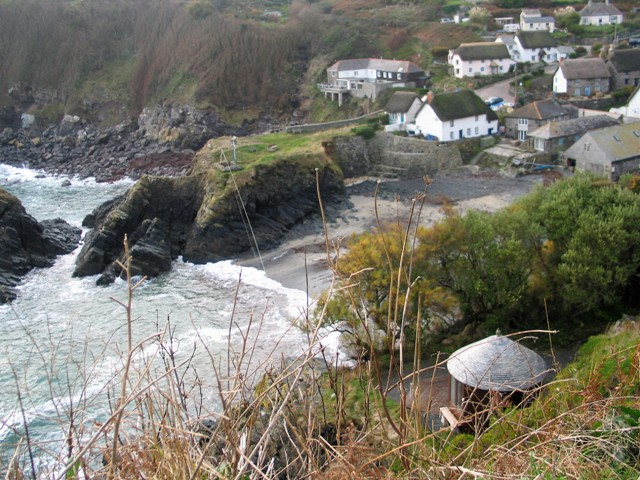 View from the cliff down to Cadgwith harbour