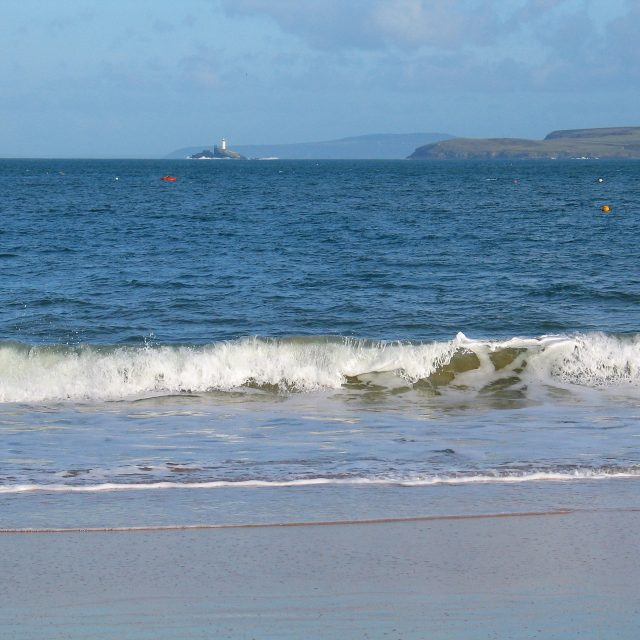 View across St Ives bay from beach - summer memory
