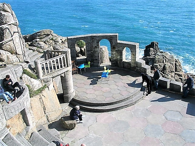 Arches frame the sea - the Minack Theatre