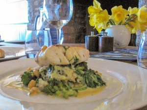 Hake on a bed of vegetabels - lunch at teh Old Coastguard Mousehole