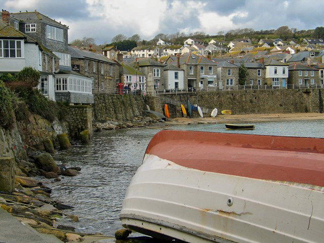 upturned boat and Cornish cottages - Mousehole harbour postcard