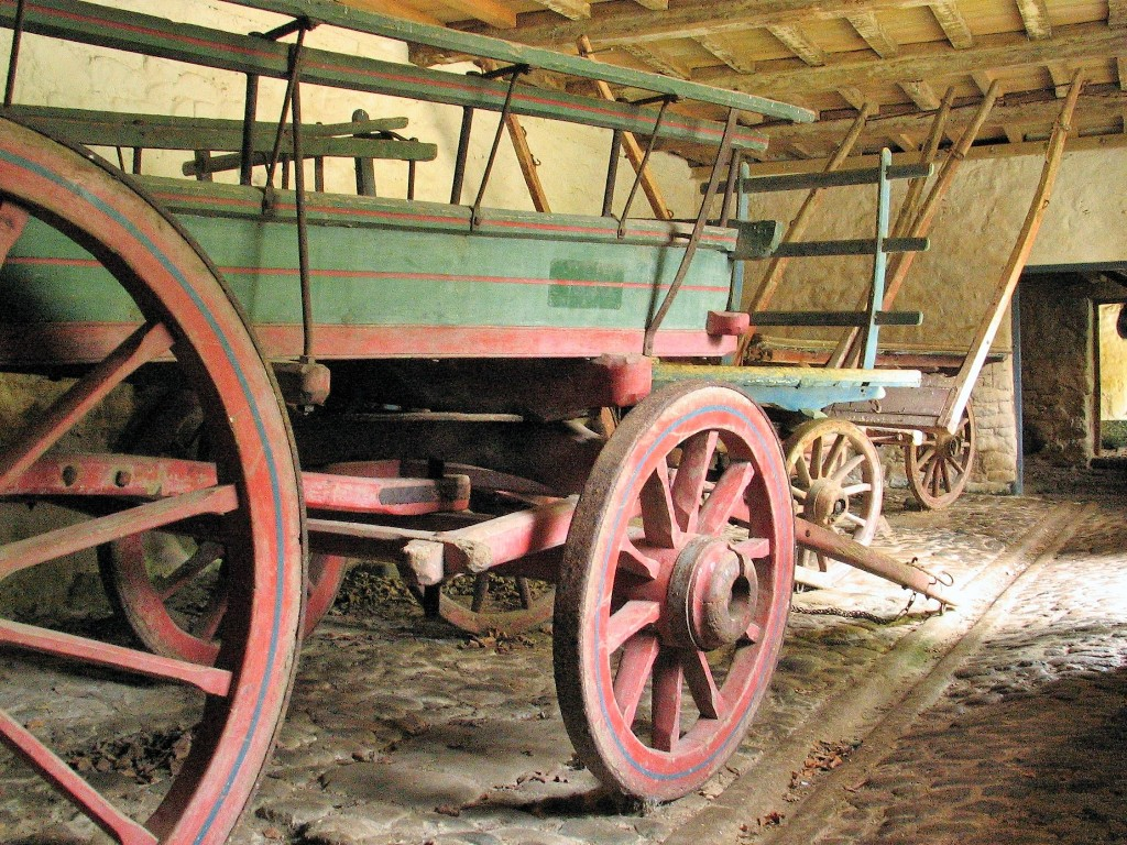 Rural carts displayed in teh buildings permanently opened