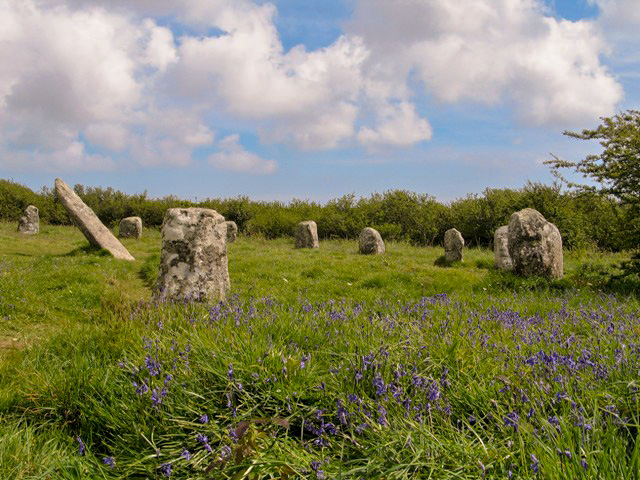Spring bluebells surrounding ancient stone circle