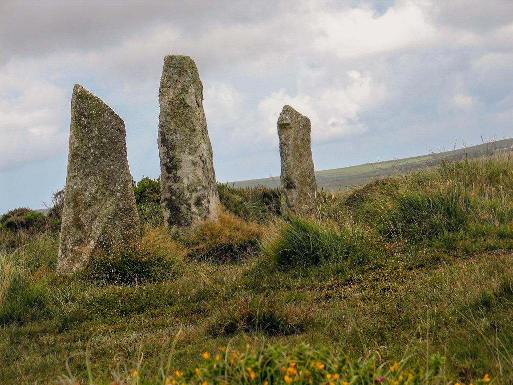 Part of Boskednan Stone Circle set on heathland