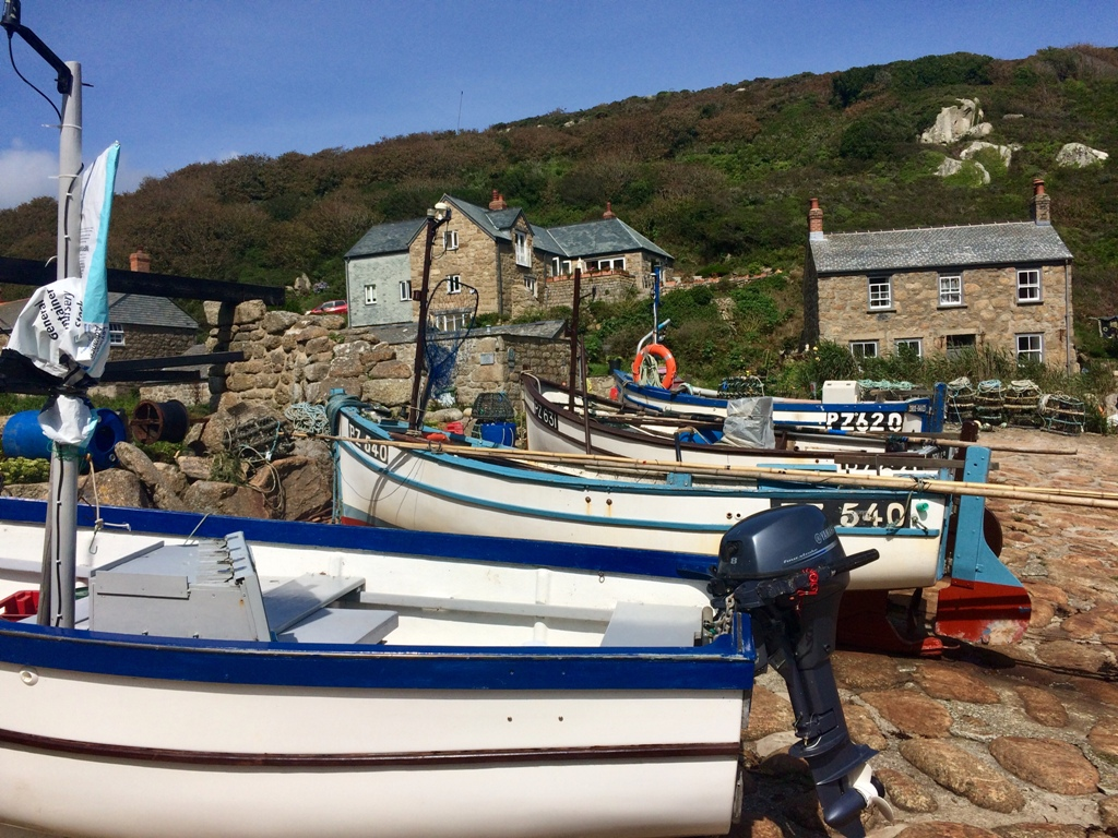 Granite cottages and fishing boats - Penberth Cove