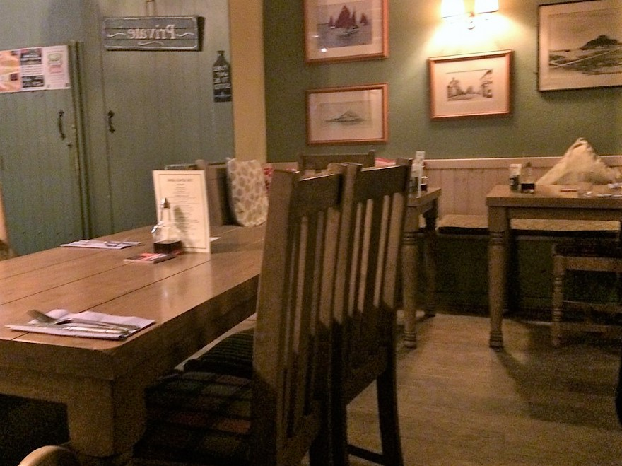 pub dining room - relaxed contemporary style for a pub supper at the King's ARms Marzion