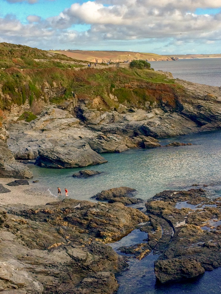 Swimmers making the most of Cornwall's sub tropical climate at Bessy's Cove