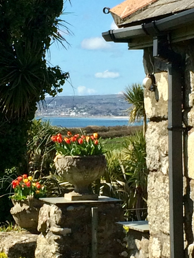 View to Penzance from a garden terrace at Ednovean Farm