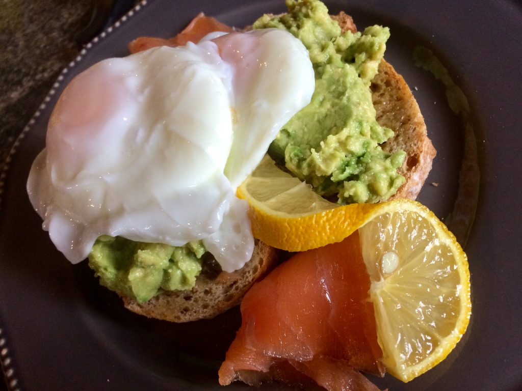 Luxury breakfast at Ednovean Farm -  smoked salmon avocados poached egg perfect to enjoy in  Breakfast room