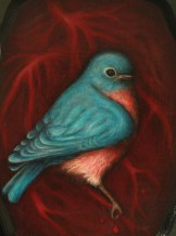 'the bluebird in our heart' acrylic on wood for my solo show at Live Fast MYC