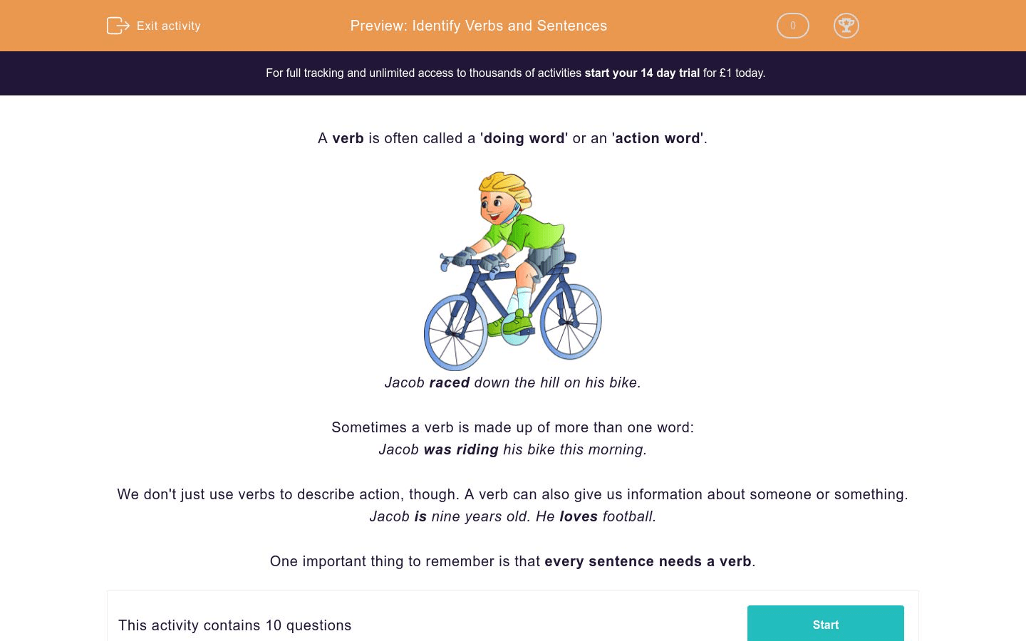 Identify Verbs And Sentences Worksheet