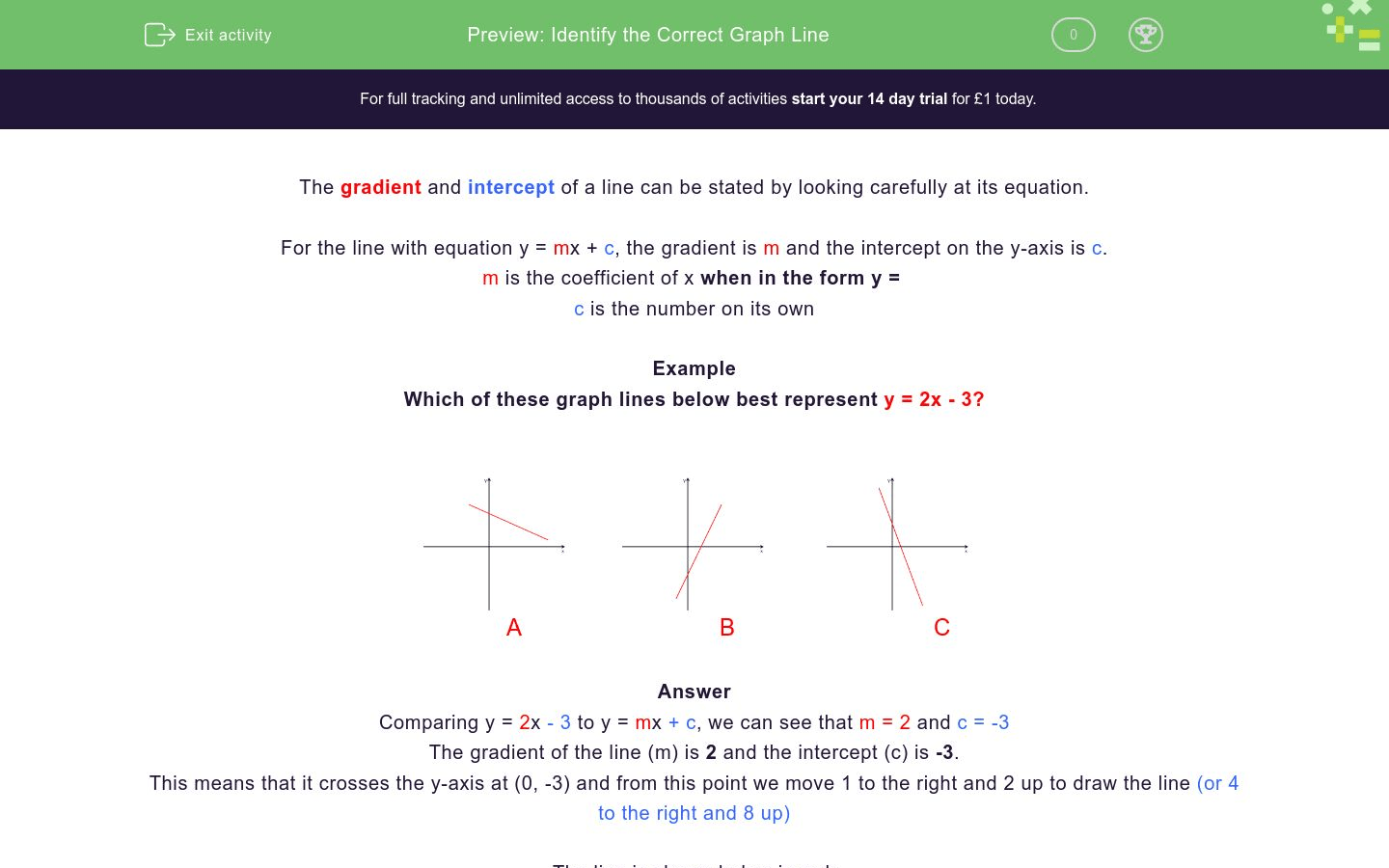 Choose The Graph Line Worksheet