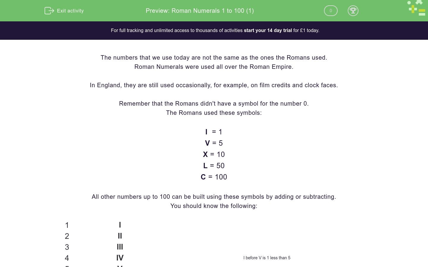 Roman Numerals 1 To 100 1 Worksheet