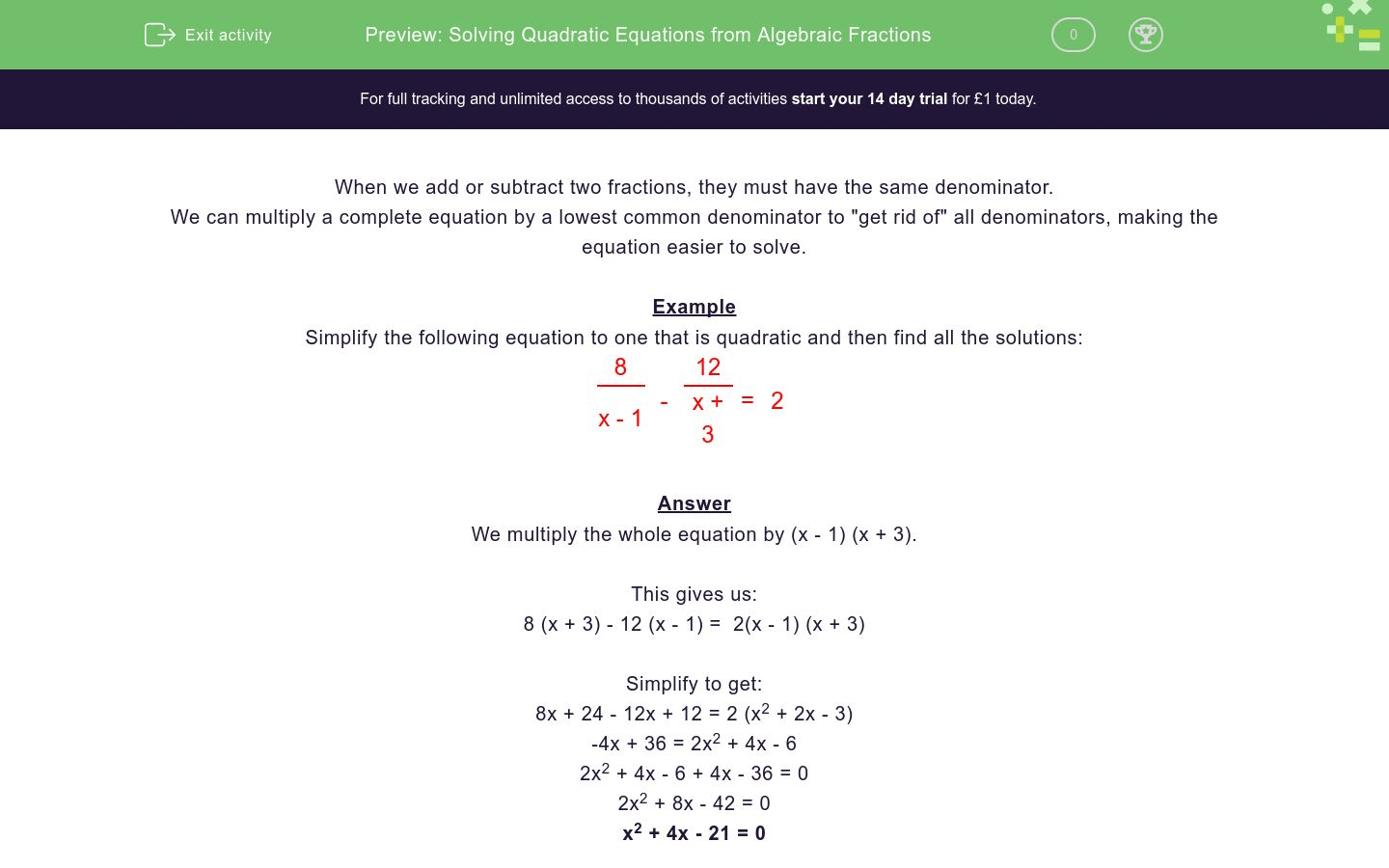 Quadratic Equations From Algebraic Fractions Worksheet