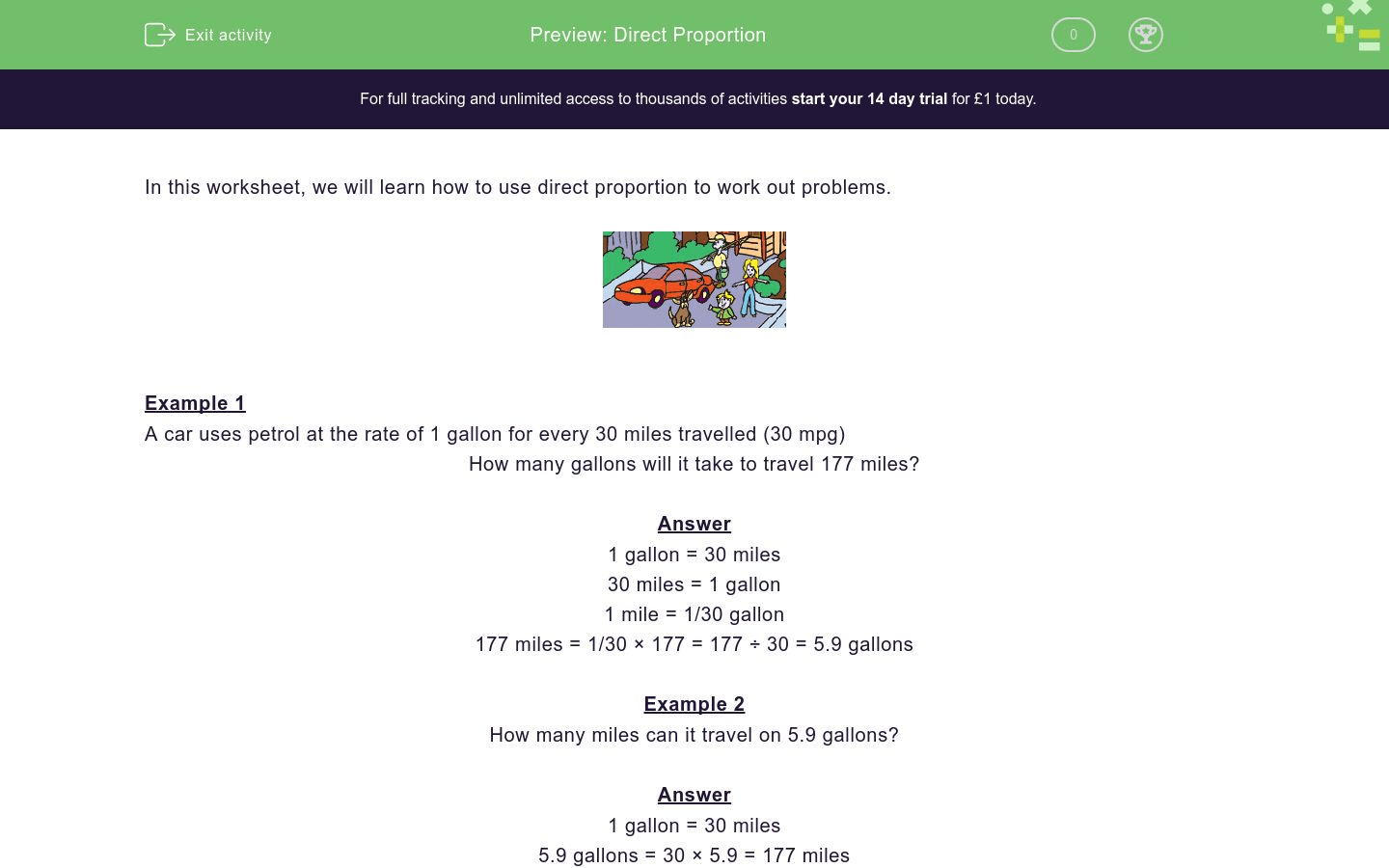 Direct Proportion Worksheet