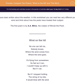 Compare Two Poems: 'Wind on the Hill' and 'The Wind Begun ...' Worksheet -  EdPlace [ 900 x 1440 Pixel ]