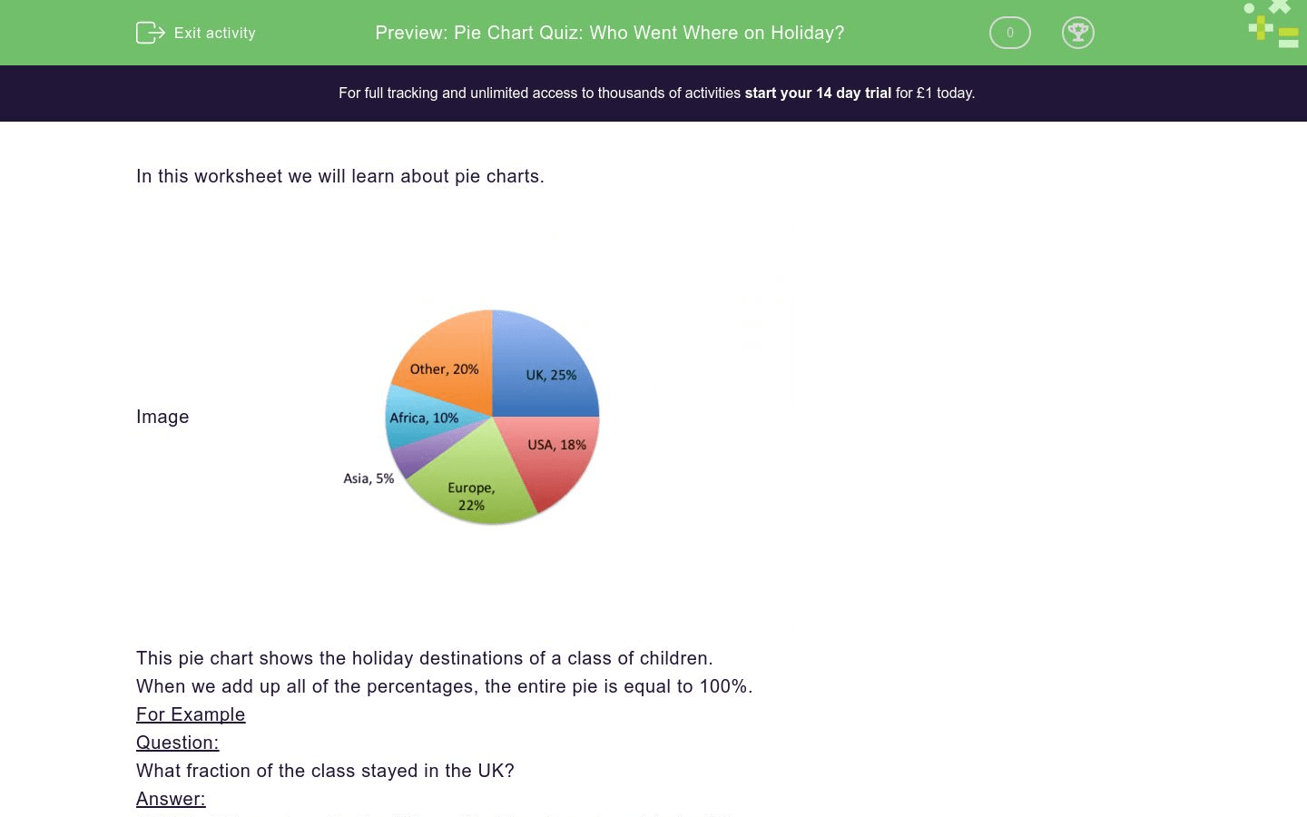 Pie Chart Quiz Who Went Where On Holiday Worksheet