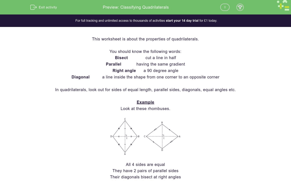 medium resolution of Classifying Quadrilaterals Worksheet - EdPlace