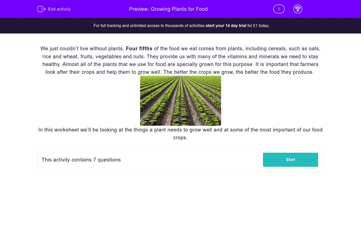 Growing Plants For Food Worksheet