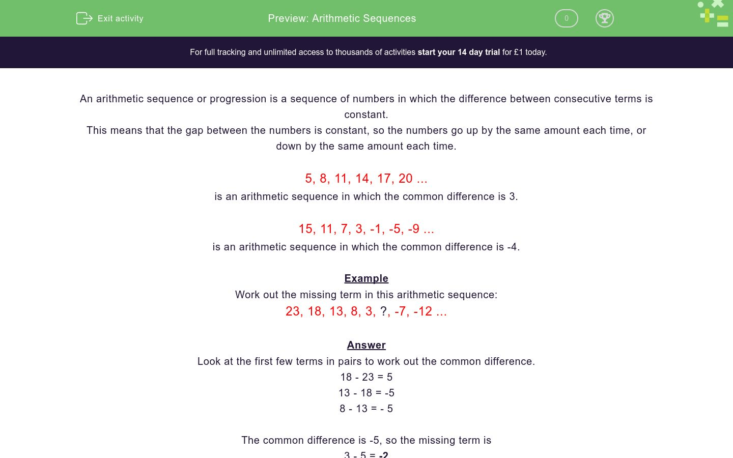 Arithmetic Sequences Worksheet
