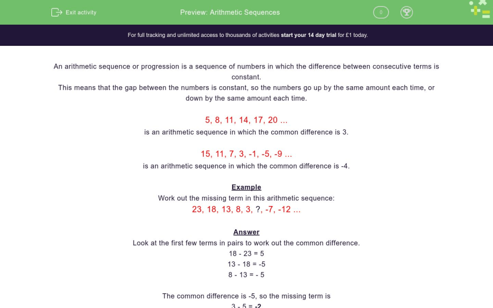 medium resolution of Arithmetic Sequences Worksheet - EdPlace