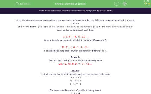 small resolution of Arithmetic Sequences Worksheet - EdPlace