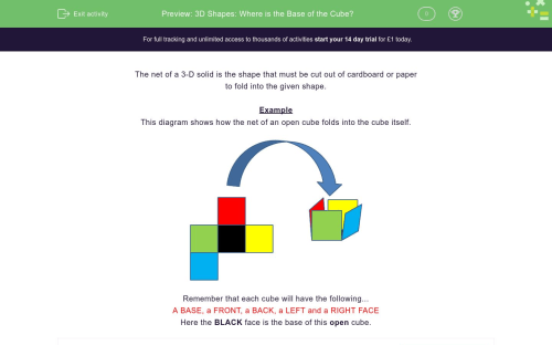 small resolution of 3D Shapes: Where is the Base of the Cube? Worksheet - EdPlace