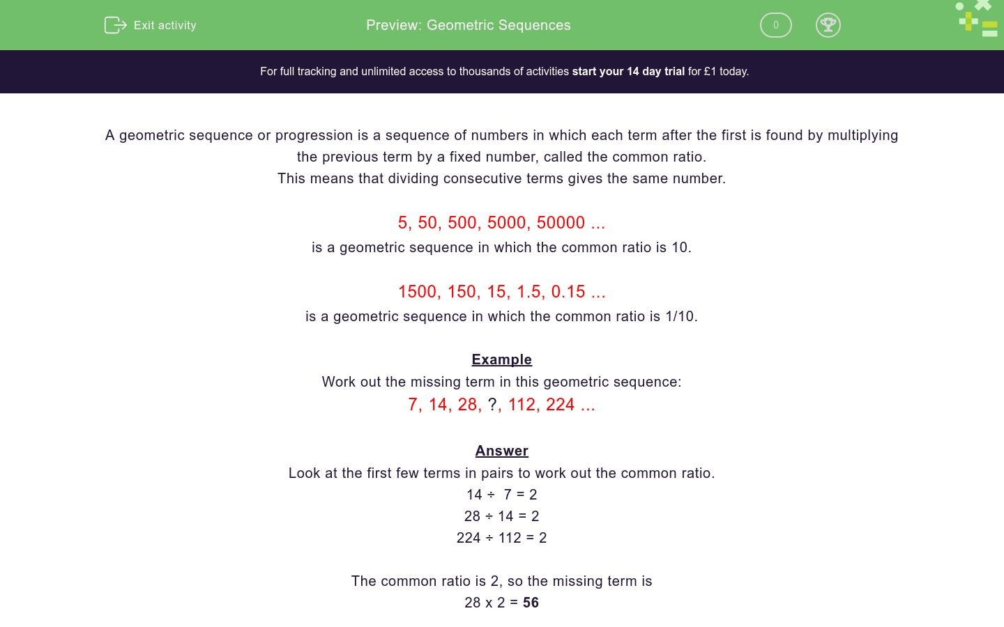 hight resolution of 30 Geometric Sequence Worksheet With Answers - Worksheet Project List