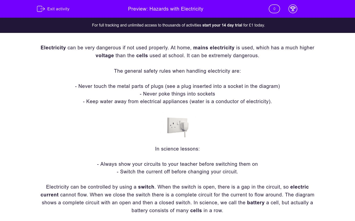 Hazards With Electricity Worksheet