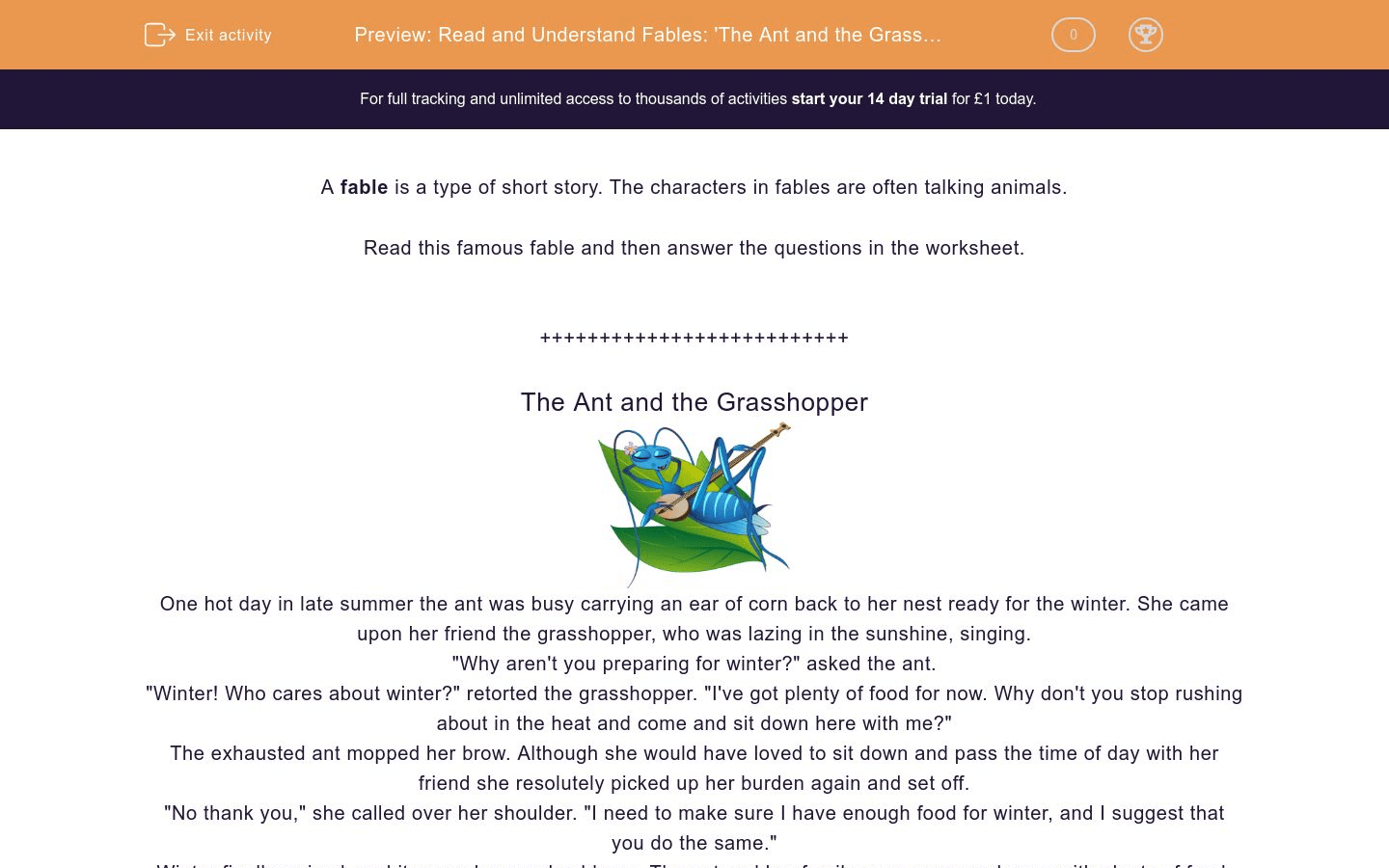 Read And Understand Fables The Ant And The Grasshopper Worksheet