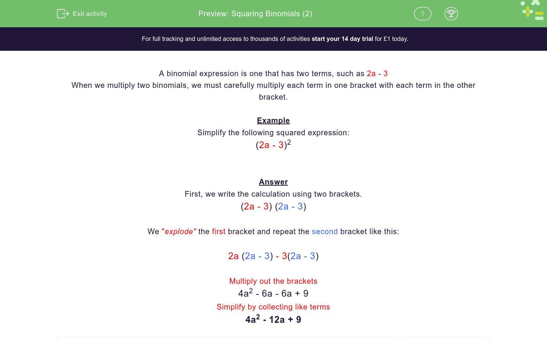 Squaring Binomials 2 Worksheet