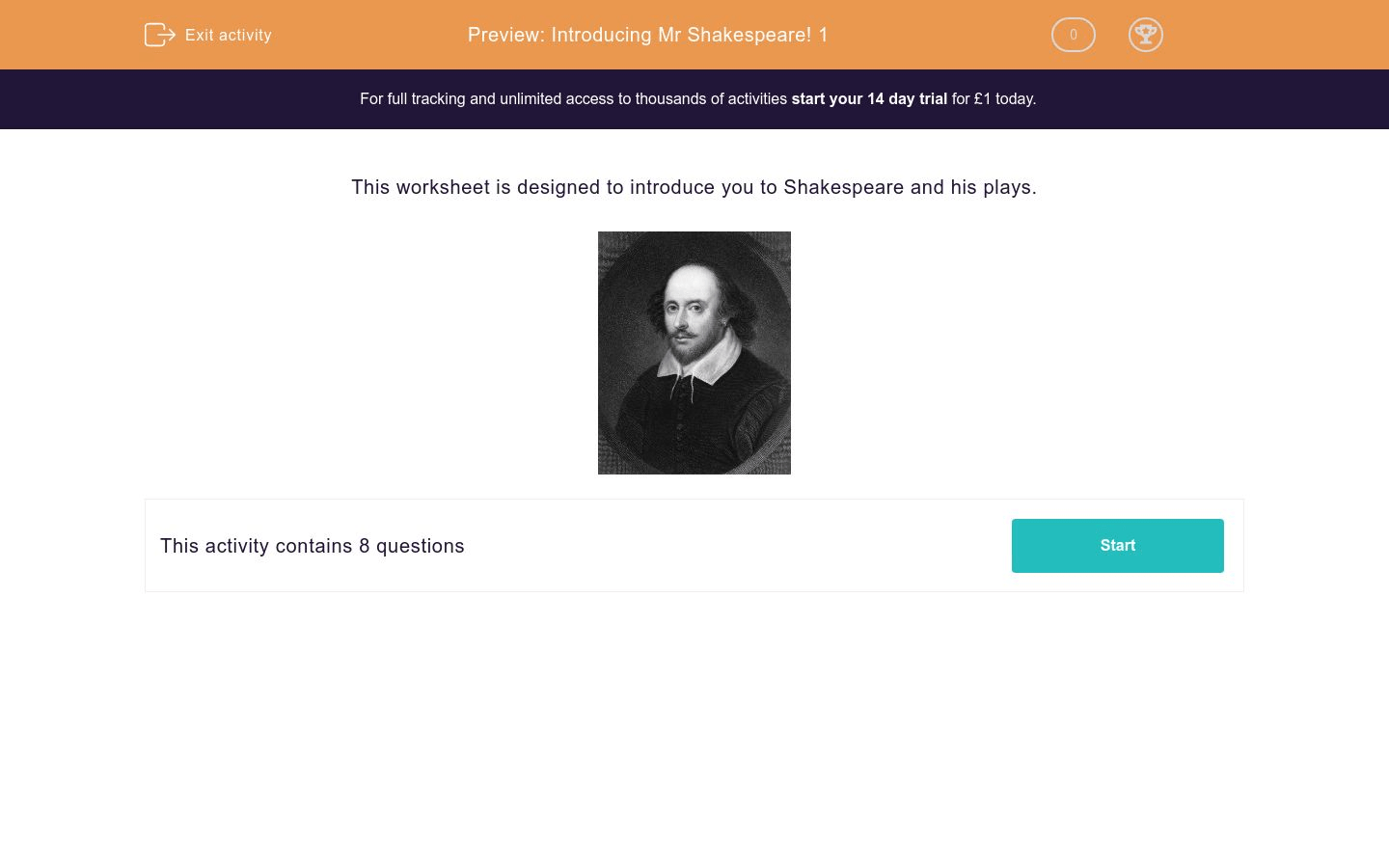 Introducing Mr Shakespeare 1 Worksheet