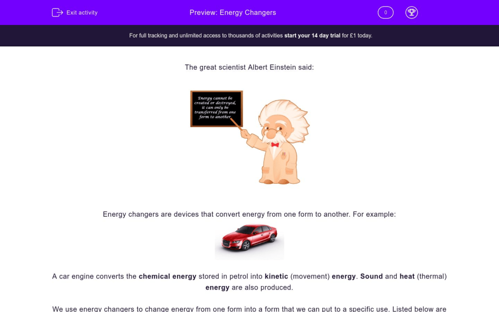 medium resolution of Energy Changers Worksheet - EdPlace