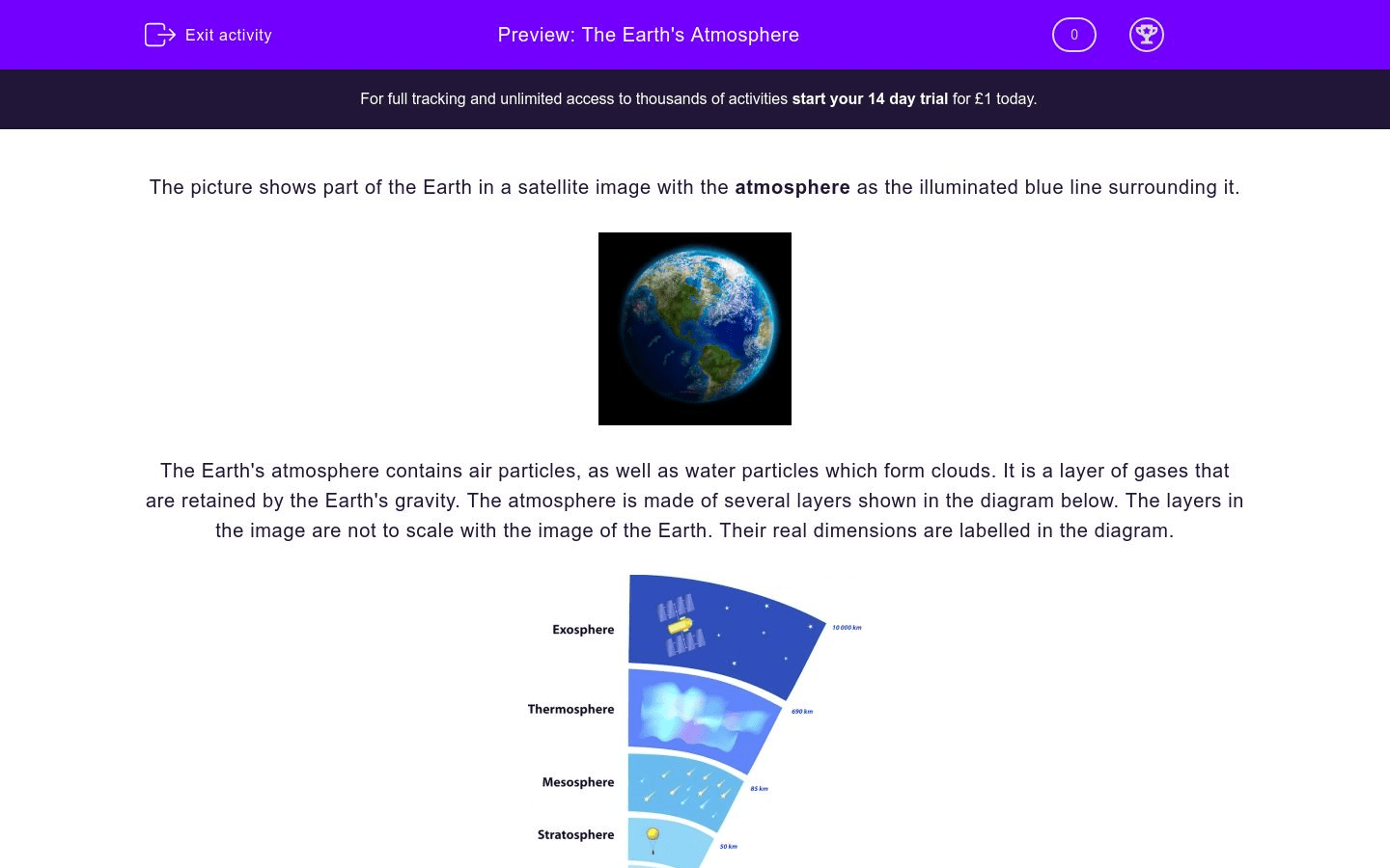 The Earth S Atmosphere Worksheet