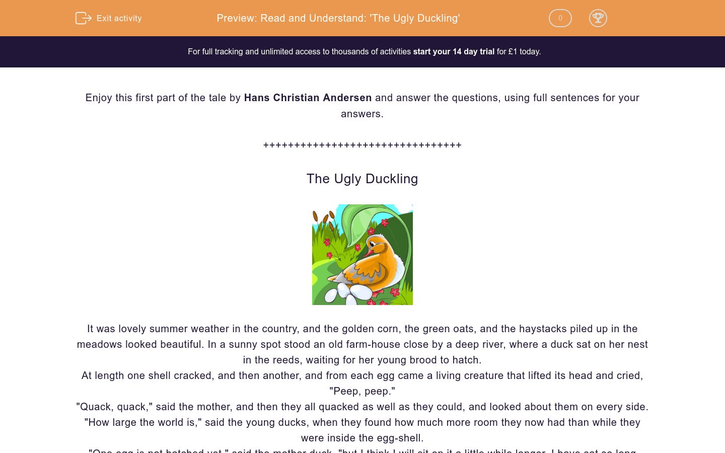 Read And Understand The Ugly Duckling Worksheet