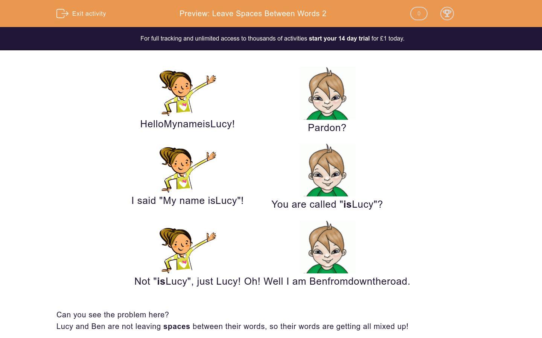 Leave Spaces Between Words 2 Worksheet