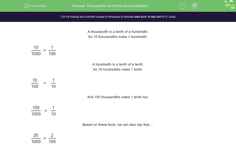 Thousandths As Tenths And Hundredths Worksheet