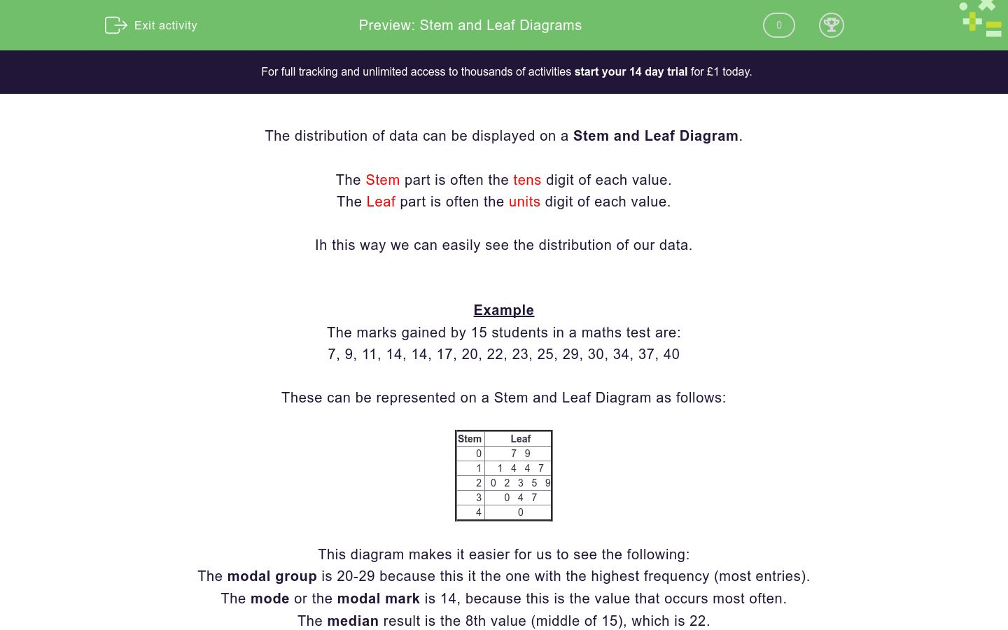Stem And Leaf Diagrams Worksheet